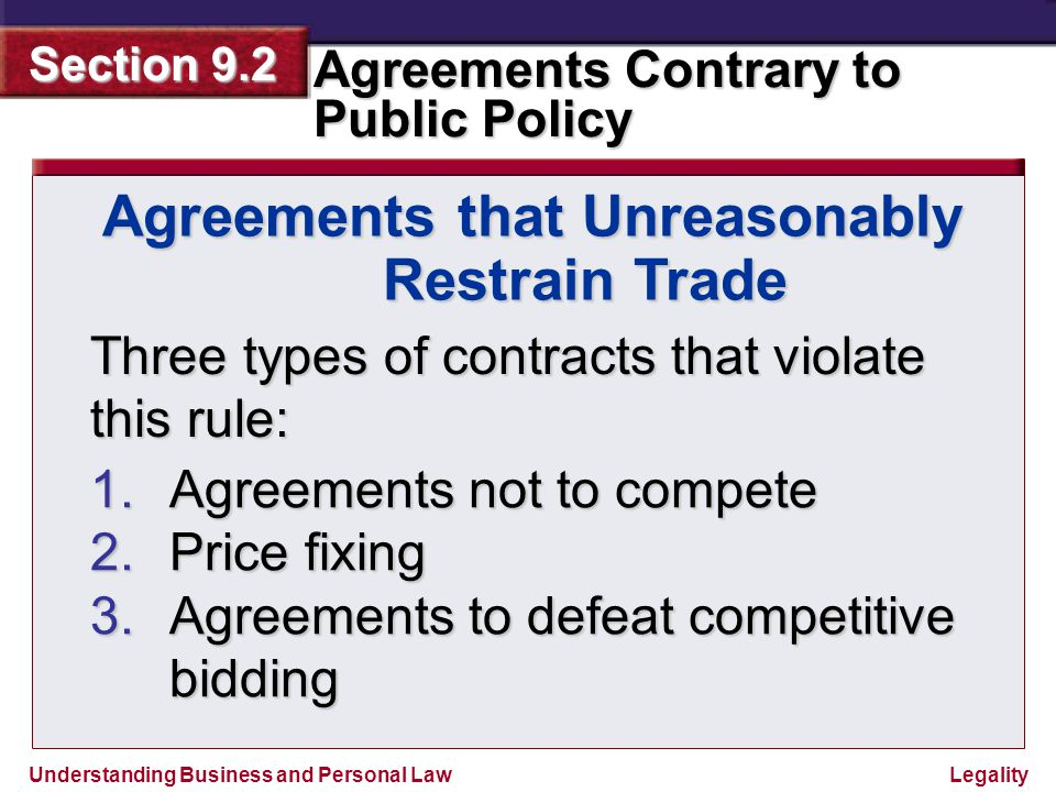 Agreements that Unreasonably Restrain Trade