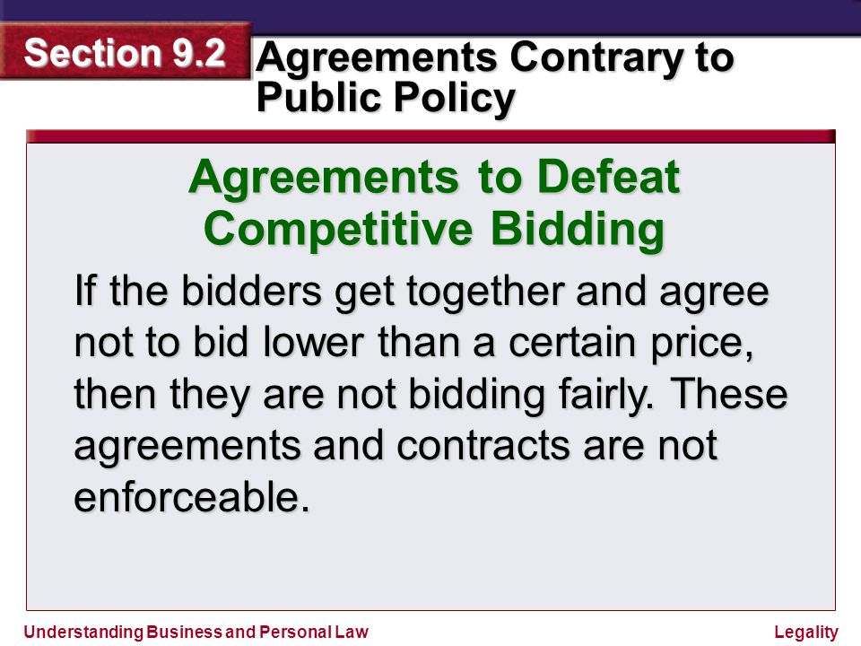 Agreements to Defeat Competitive Bidding