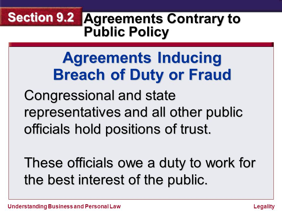 Agreements Inducing Breach of Duty or Fraud
