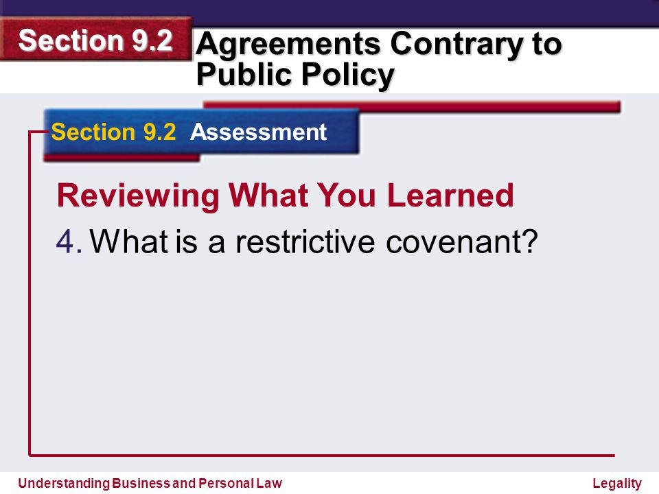 Reviewing What You Learned What is a restrictive covenant