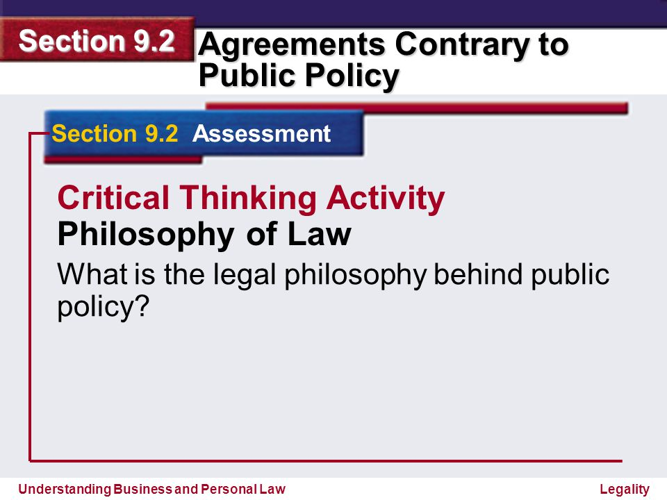 Critical Thinking Activity Philosophy of Law