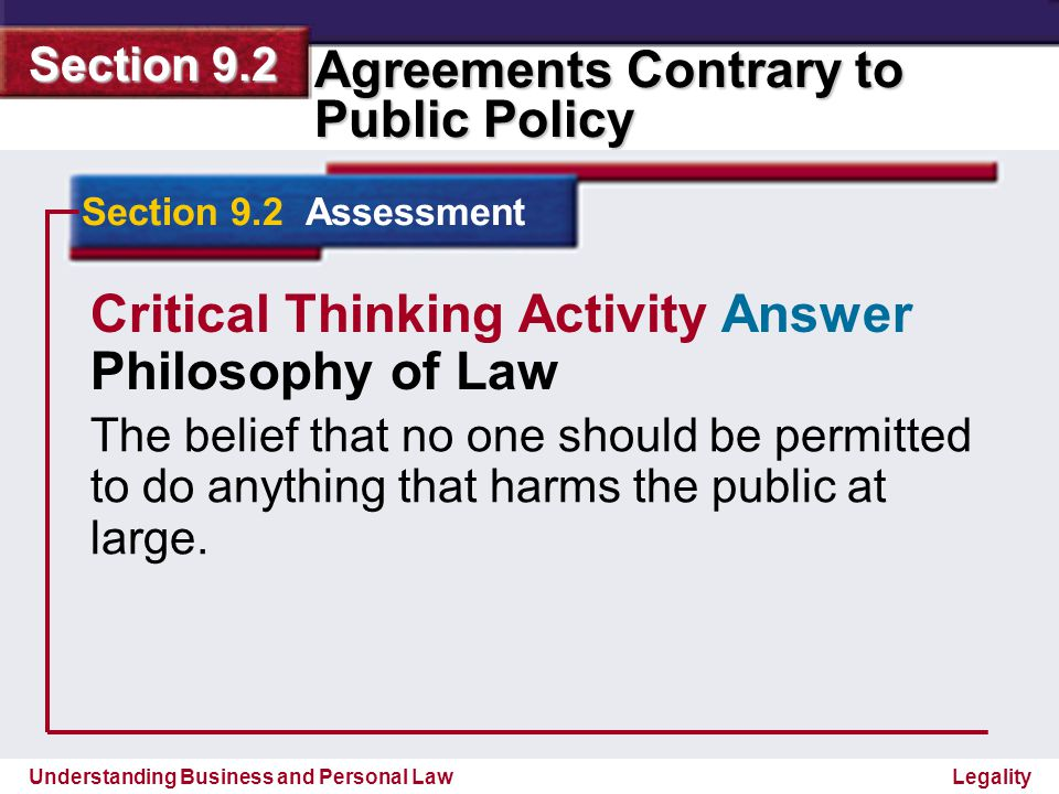 Critical Thinking Activity Answer Philosophy of Law