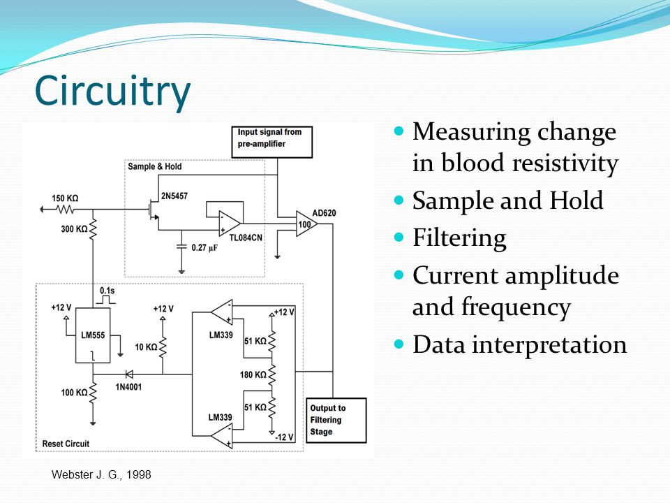 Circuitry Measuring change in blood resistivity Sample and Hold