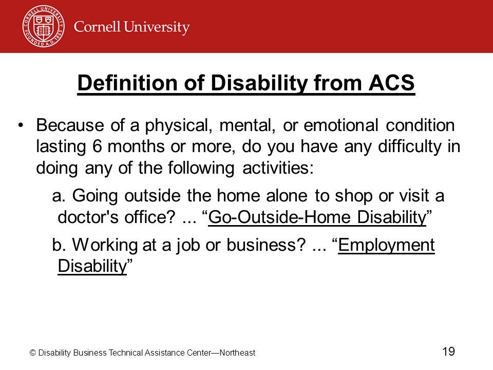 Definition of Disability from ACS
