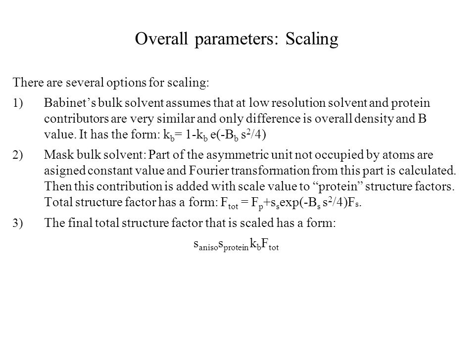 Overall parameters: Scaling