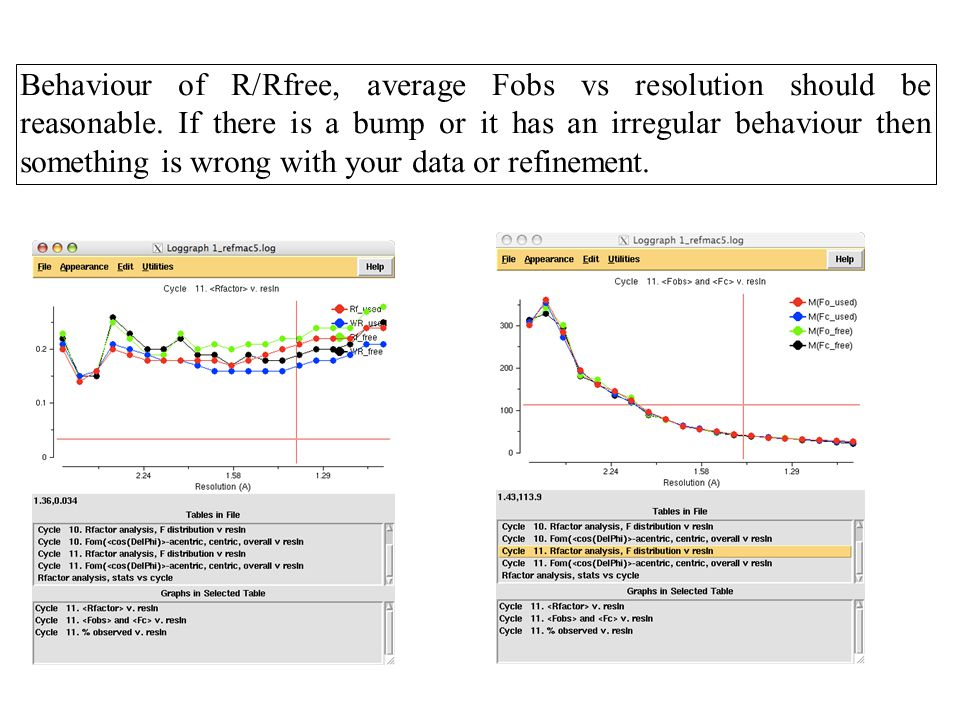 Behaviour of R/Rfree, average Fobs vs resolution should be reasonable