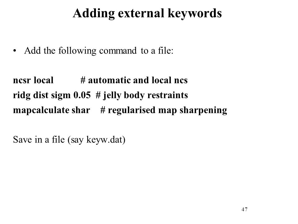 Adding external keywords