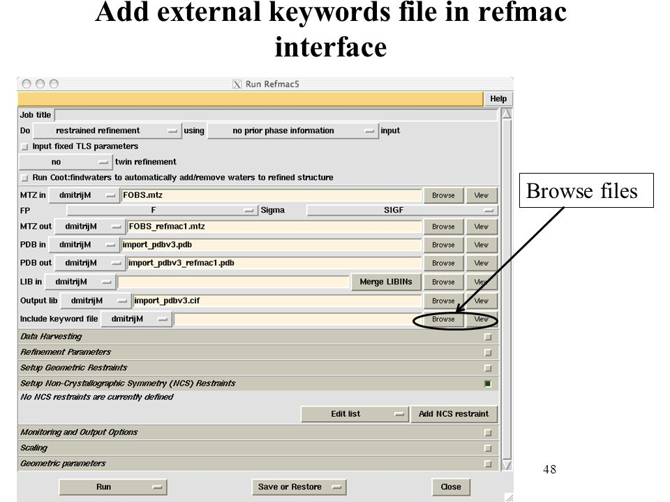 Add external keywords file in refmac interface
