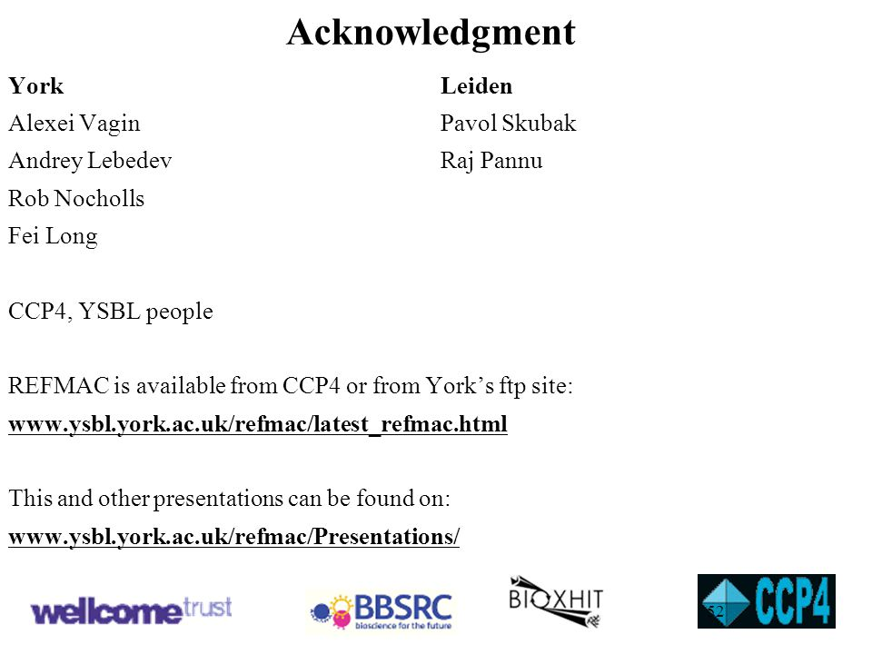 Acknowledgment York Leiden Alexei Vagin Pavol Skubak