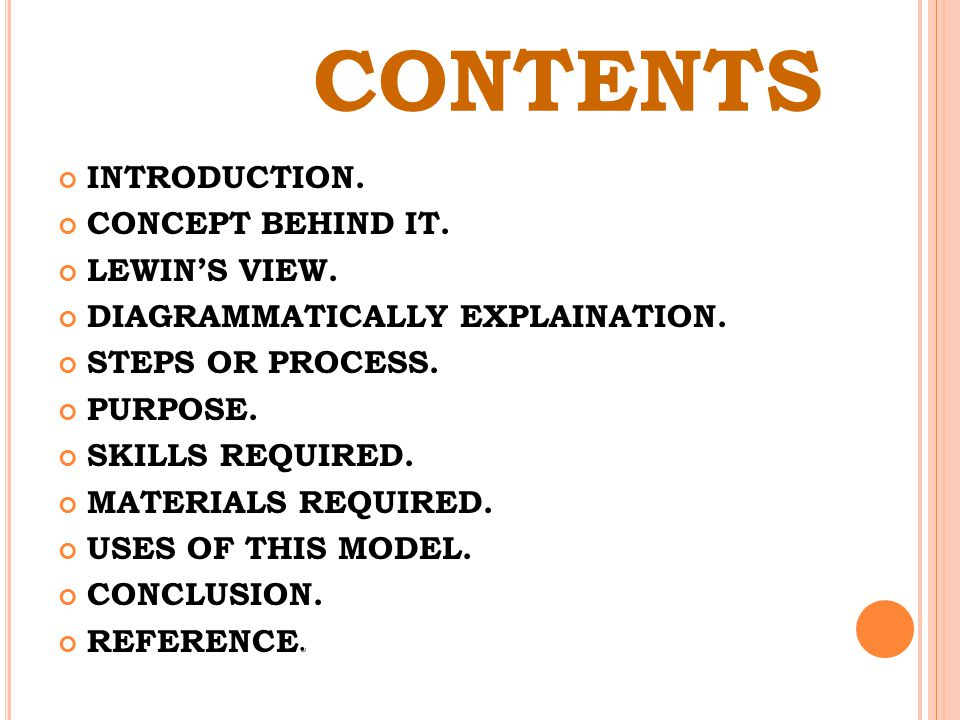 CONTENTS INTRODUCTION. CONCEPT BEHIND IT. LEWIN'S VIEW.