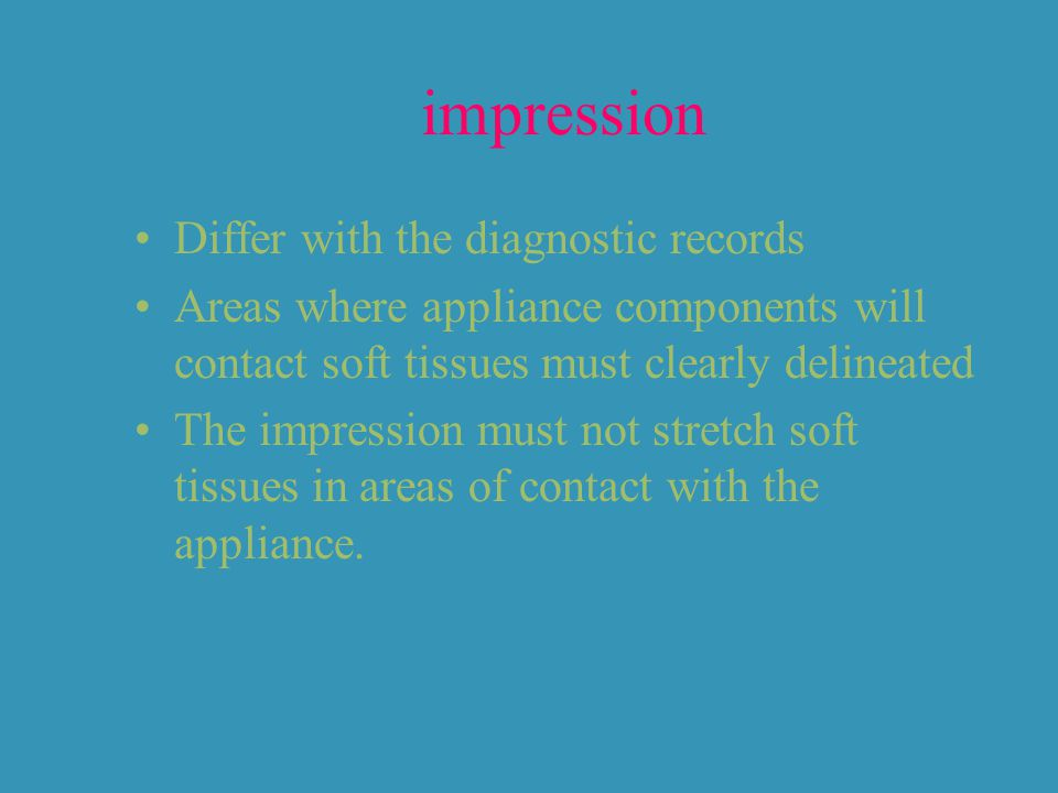 impression Differ with the diagnostic records