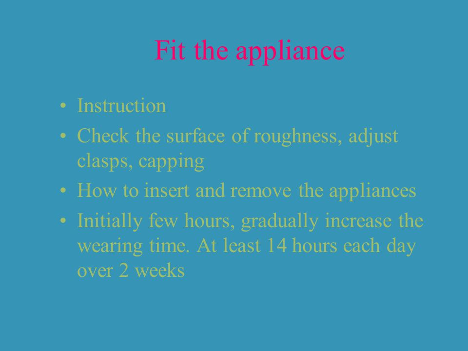 Fit the appliance Instruction