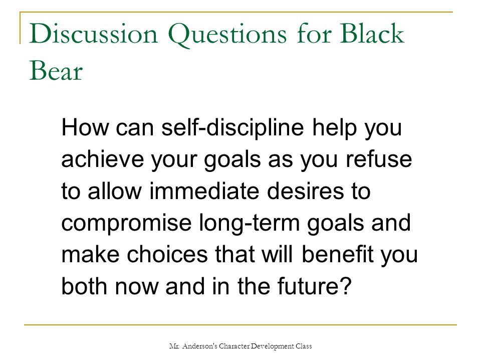Discussion Questions for Black Bear