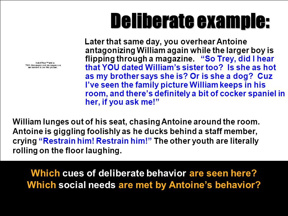 Deliberate example: Which cues of deliberate behavior are seen here