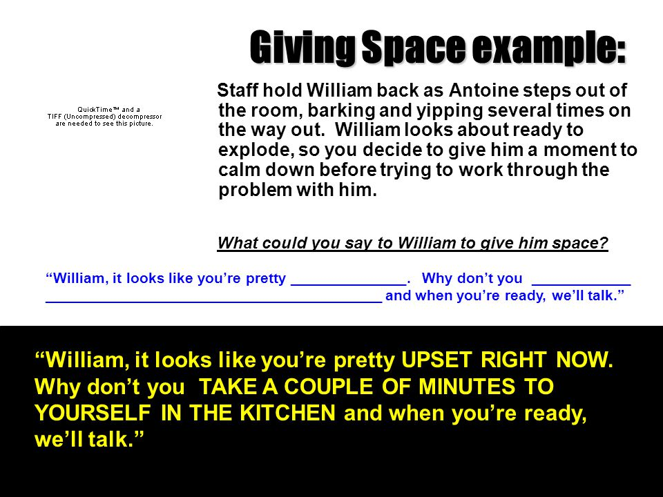 Giving Space example: