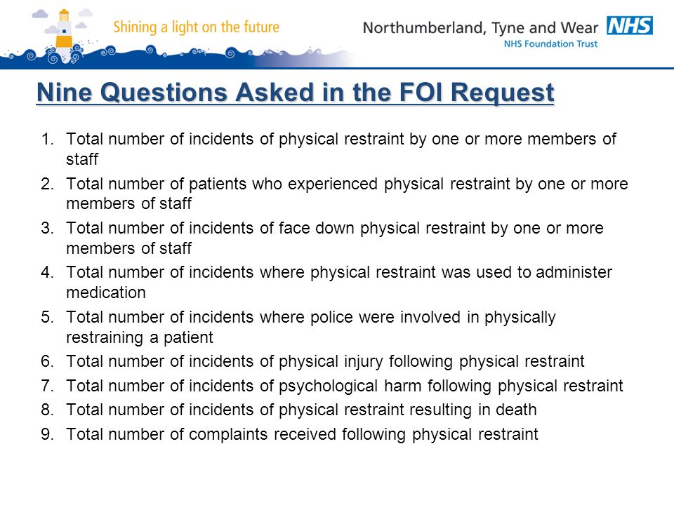 Nine Questions Asked in the FOI Request