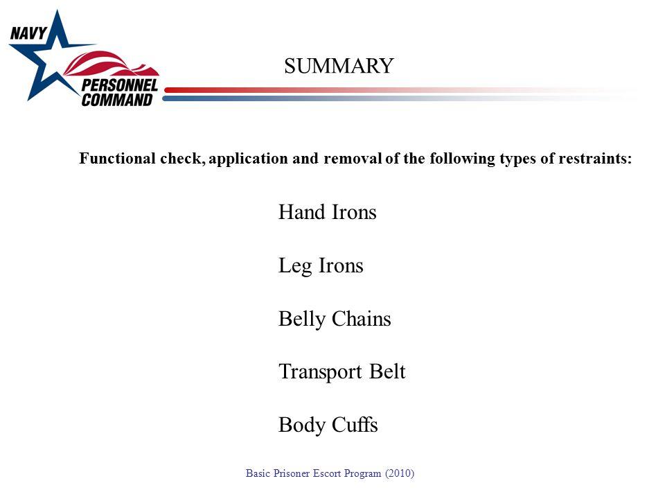 SUMMARY Hand Irons Leg Irons Belly Chains Transport Belt Body Cuffs
