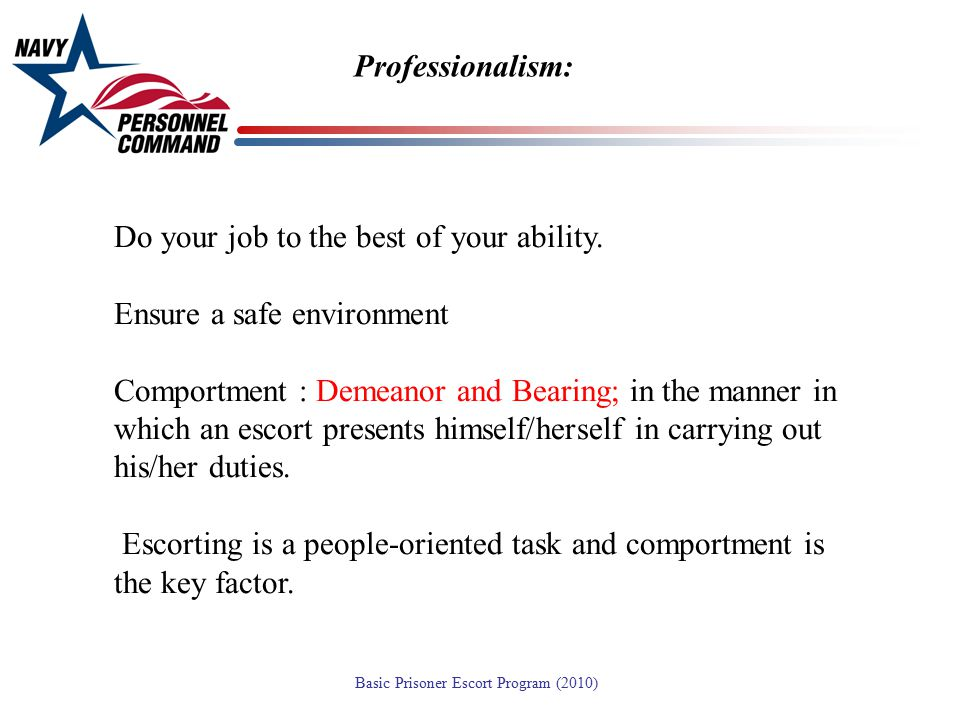 Professionalism: Do your job to the best of your ability. Ensure a safe environment.