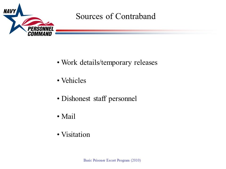 Sources of Contraband Work details/temporary releases Vehicles