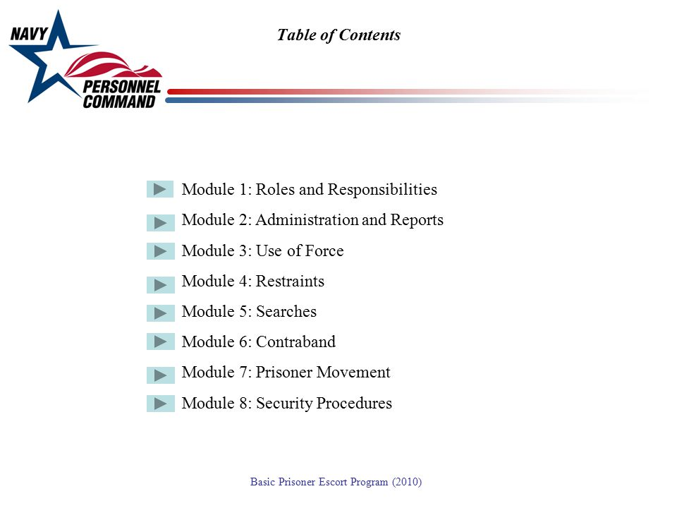 Table of Contents Module 1: Roles and Responsibilities. Module 2: Administration and Reports. Module 3: Use of Force.