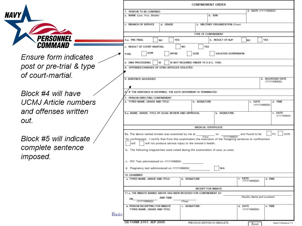 Ensure form indicates post or pre-trial & type of court-martial