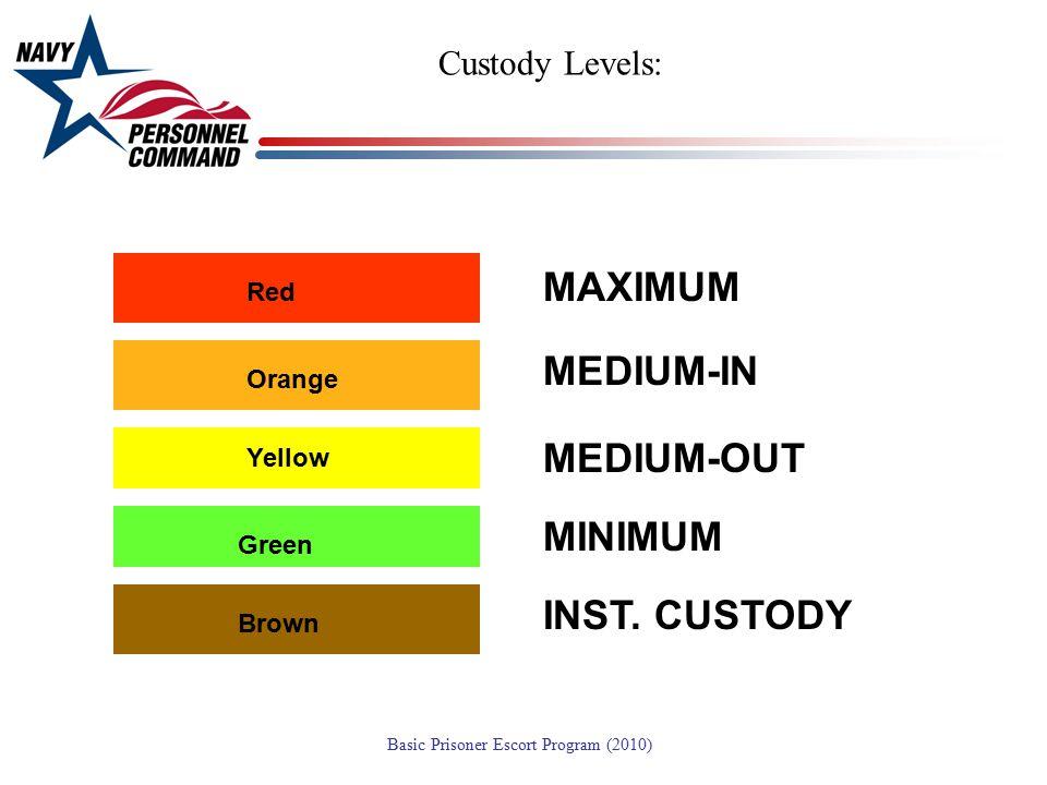 MAXIMUM MEDIUM-IN MEDIUM-OUT MINIMUM INST. CUSTODY Custody Levels: Red