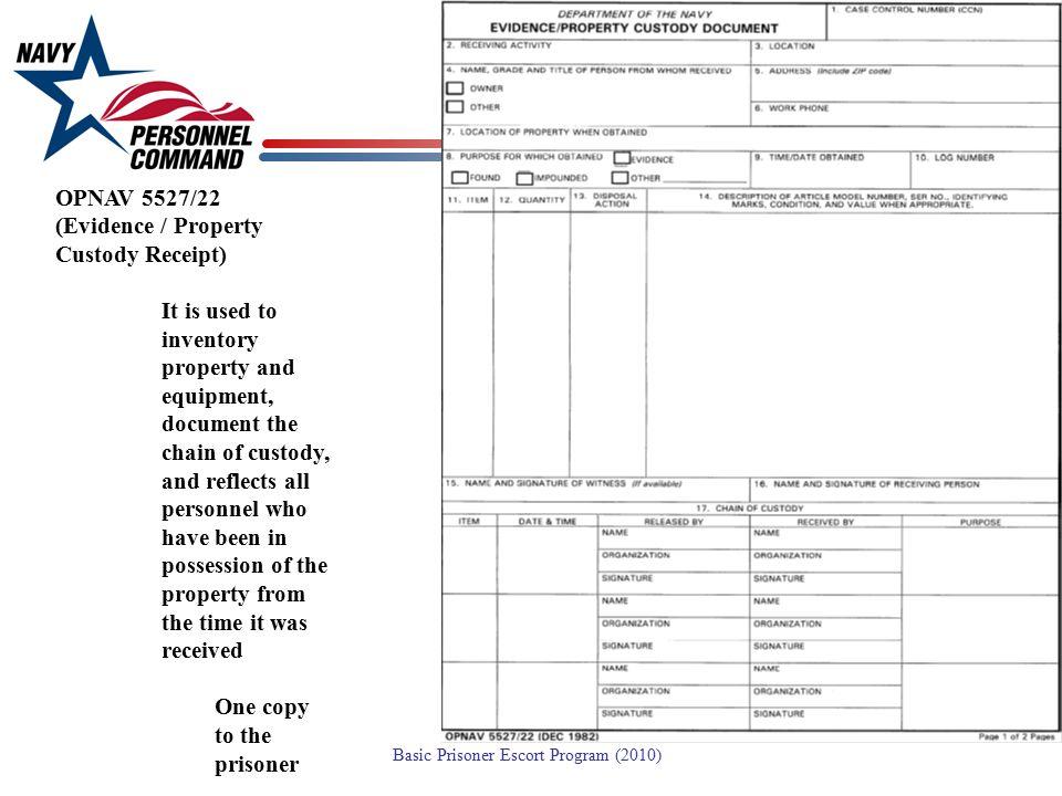 OPNAV 5527/22 (Evidence / Property Custody Receipt)