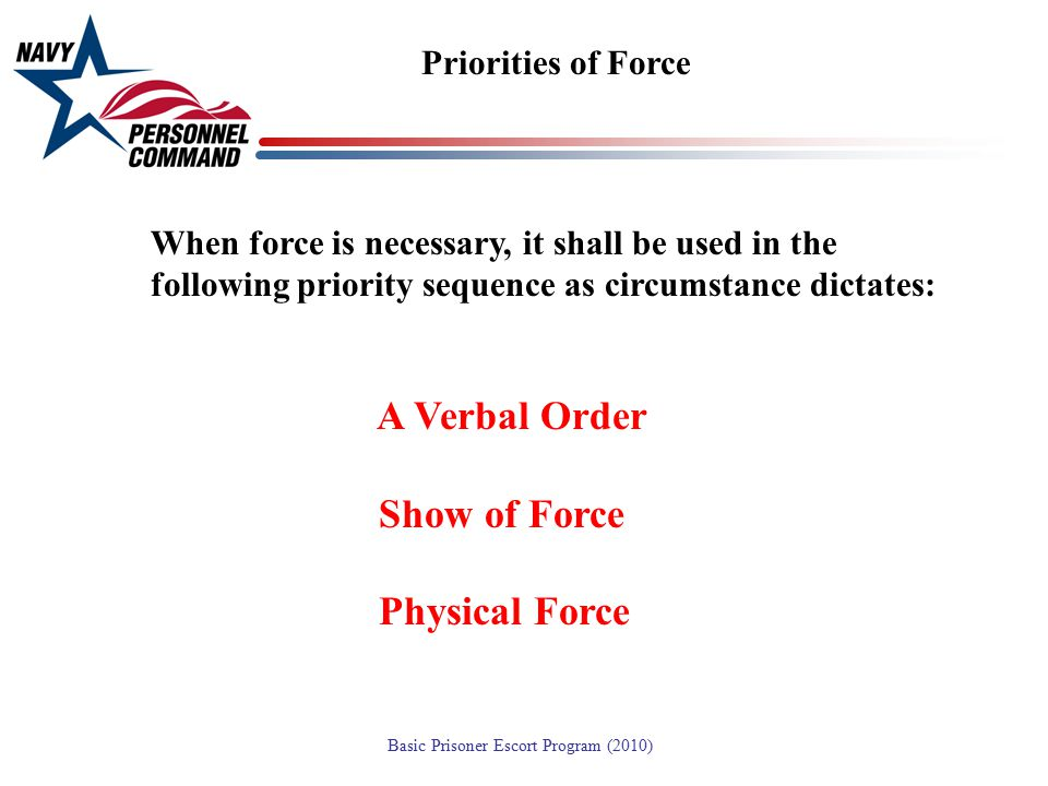 A Verbal Order Show of Force Physical Force Priorities of Force