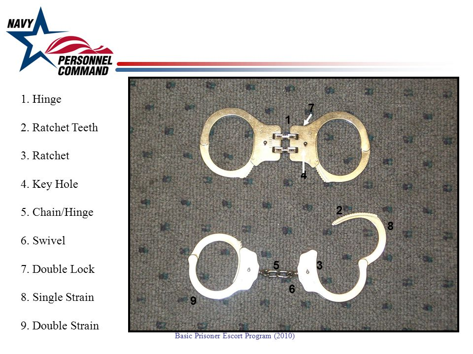 1. Hinge 2. Ratchet Teeth. 3. Ratchet. 4. Key Hole. 5. Chain/Hinge. 6. Swivel. 7. Double Lock.