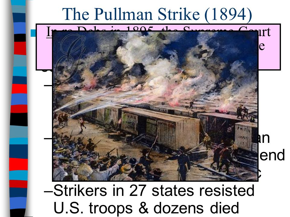 The Pullman Strike (1894) In 1894, Pullman Palace Car workers went on strike when the company cut wages by 50%