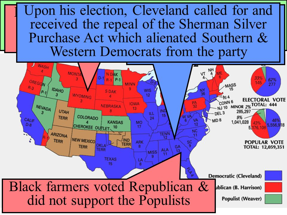 In 1892, the Populists ran presidential candidate James Weaver against Democrat Grover Cleveland & Republican Benjamin Harrison