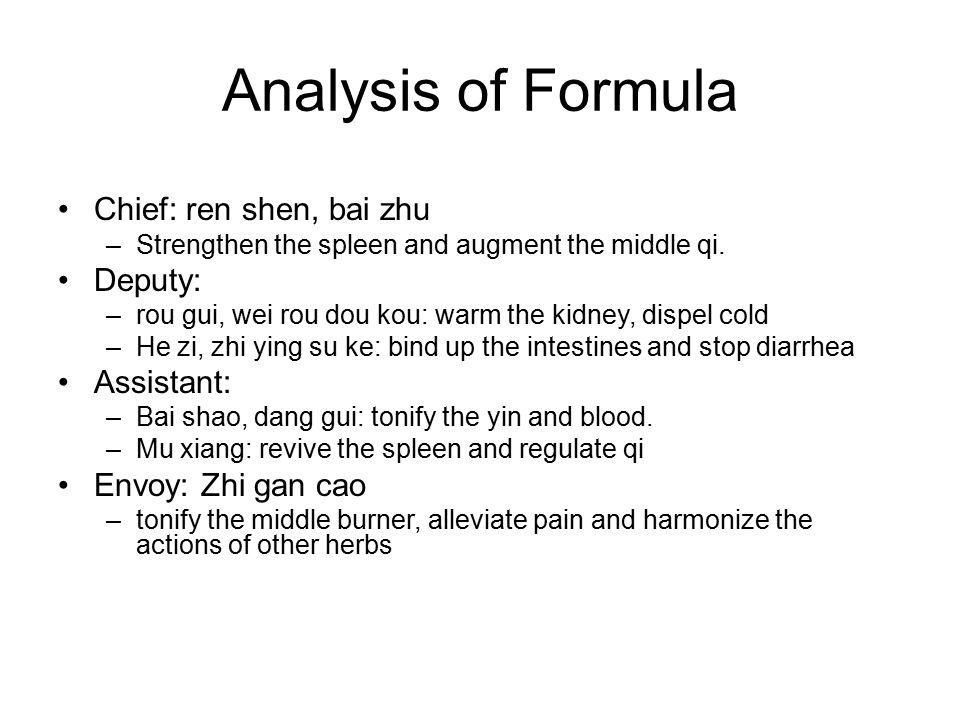 Analysis of Formula Chief: ren shen, bai zhu Deputy: Assistant: