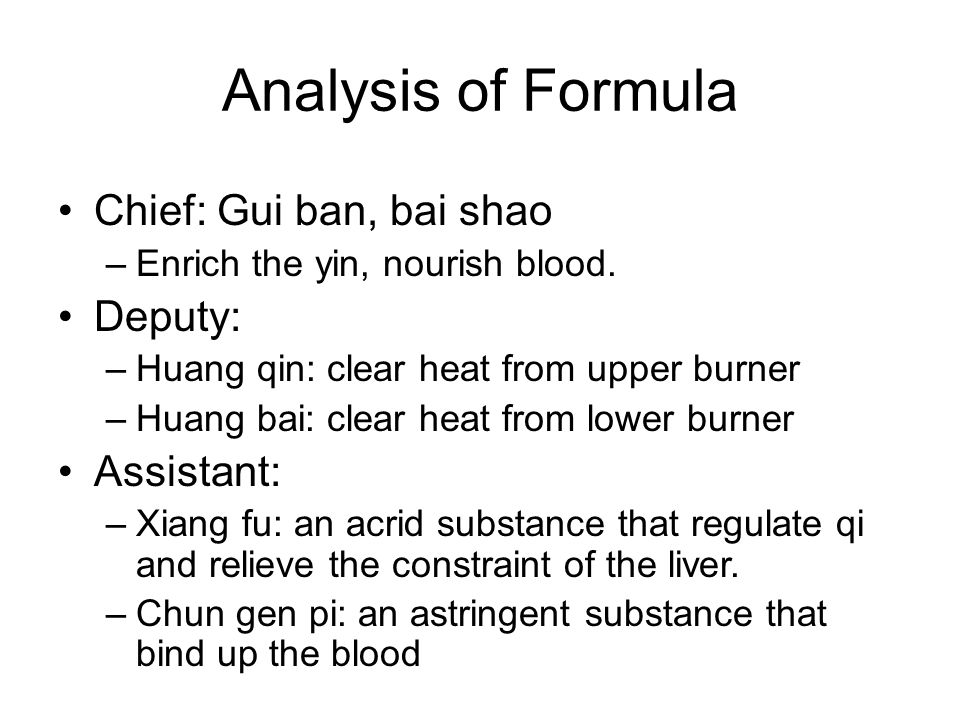 Analysis of Formula Chief: Gui ban, bai shao Deputy: Assistant: