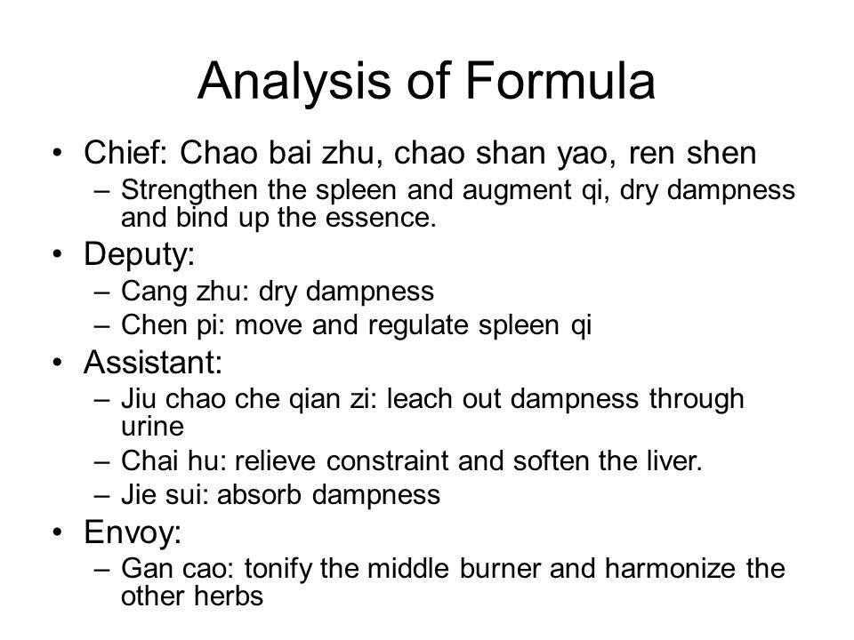 Analysis of Formula Chief: Chao bai zhu, chao shan yao, ren shen
