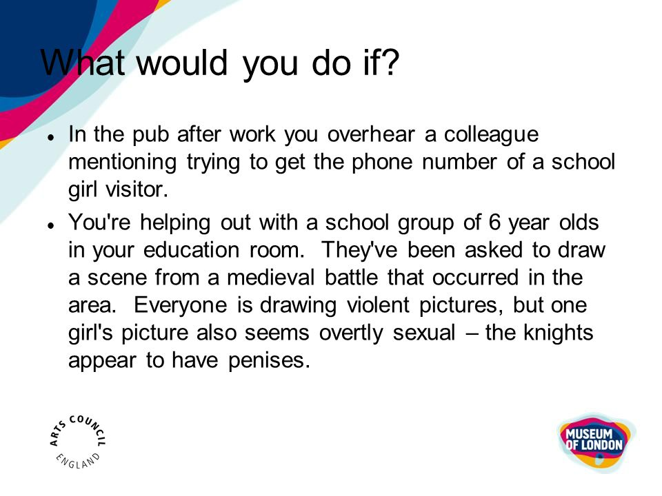 What would you do if In the pub after work you overhear a colleague mentioning trying to get the phone number of a school girl visitor.