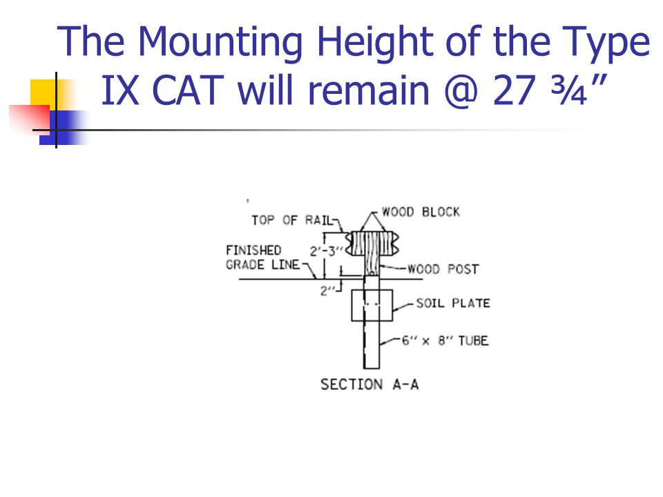 The Mounting Height of the Type IX CAT will remain @ 27 ¾