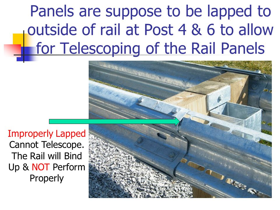 Panels are suppose to be lapped to outside of rail at Post 4 & 6 to allow for Telescoping of the Rail Panels