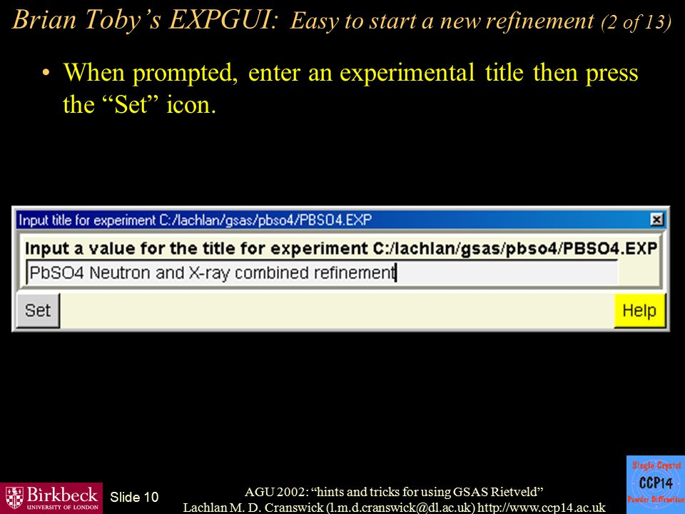Brian Toby's EXPGUI: Easy to start a new refinement (2 of 13)