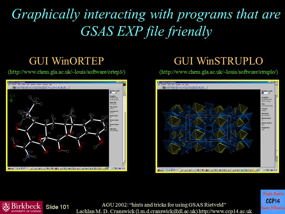 Graphically interacting with programs that are GSAS EXP file friendly