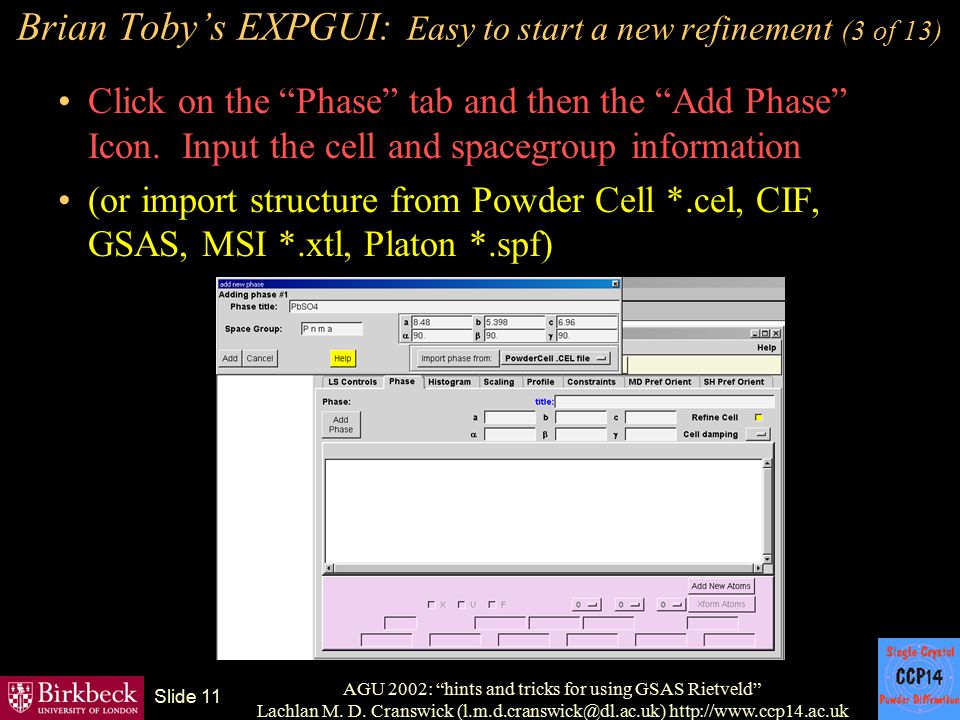 Brian Toby's EXPGUI: Easy to start a new refinement (3 of 13)