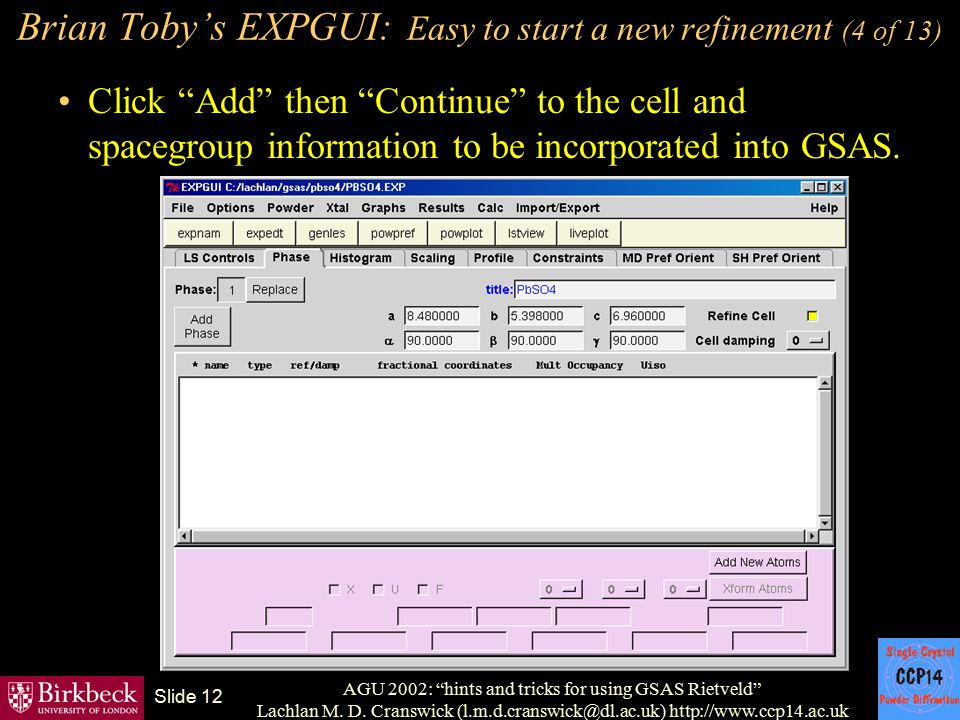 Brian Toby's EXPGUI: Easy to start a new refinement (4 of 13)