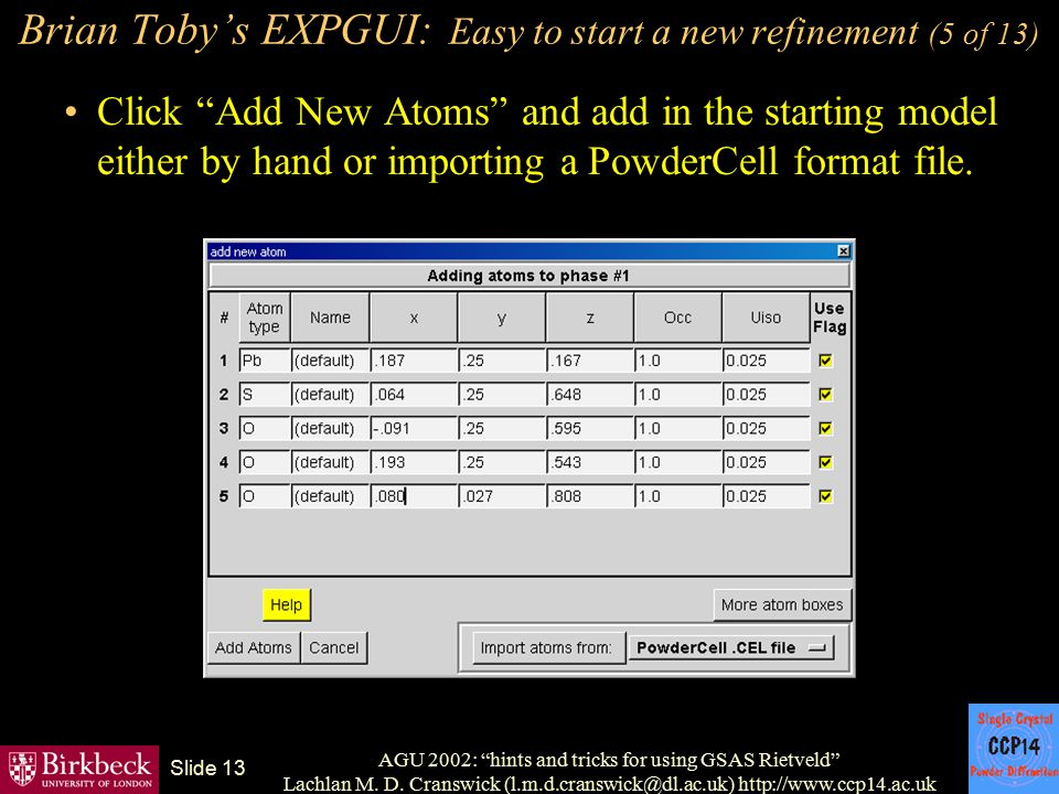 Brian Toby's EXPGUI: Easy to start a new refinement (5 of 13)