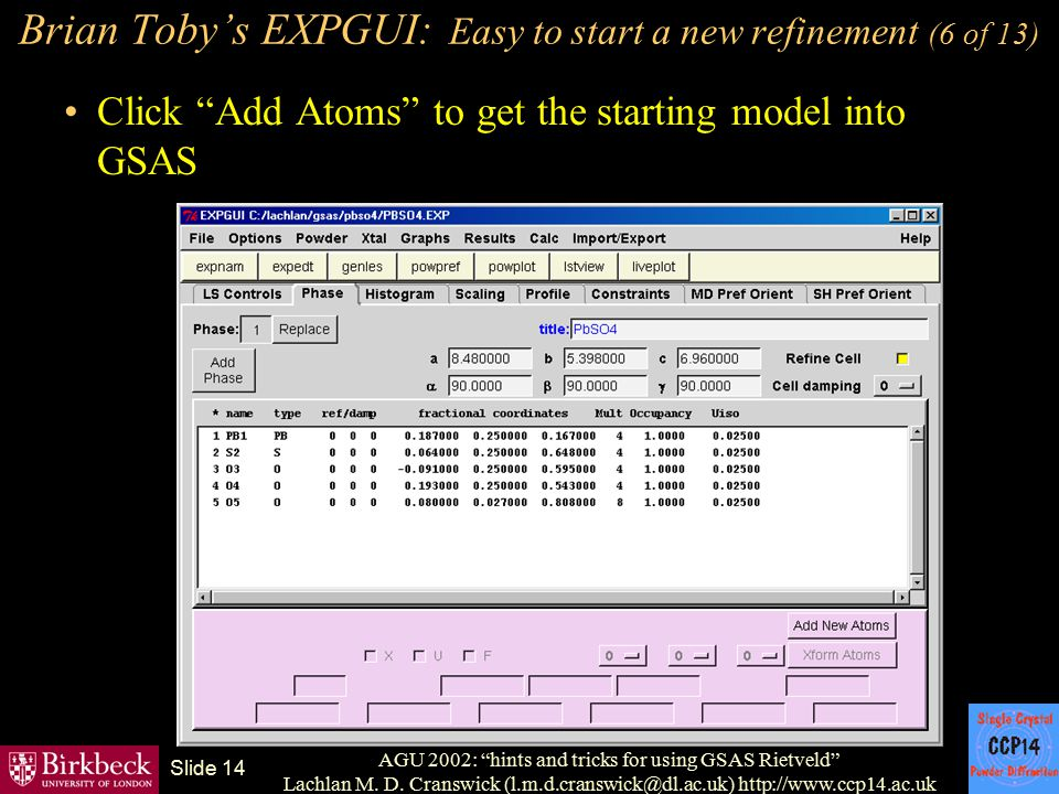 Brian Toby's EXPGUI: Easy to start a new refinement (6 of 13)