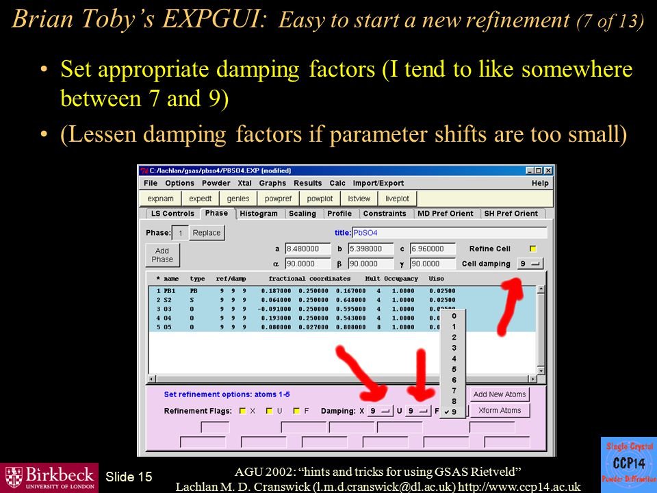 Brian Toby's EXPGUI: Easy to start a new refinement (7 of 13)