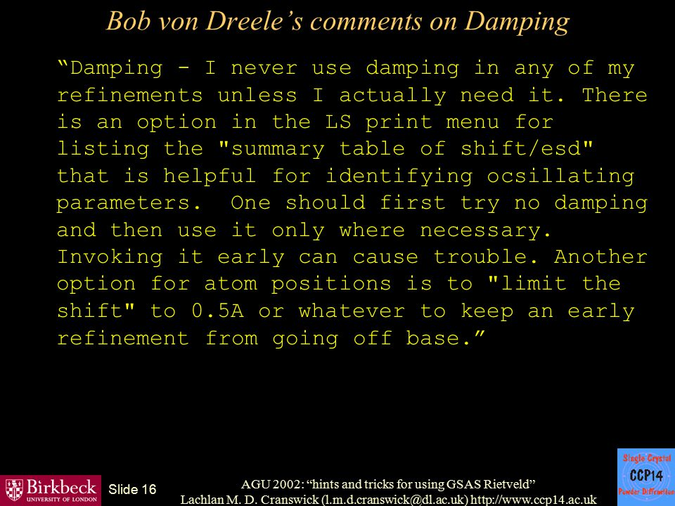 Bob von Dreele's comments on Damping