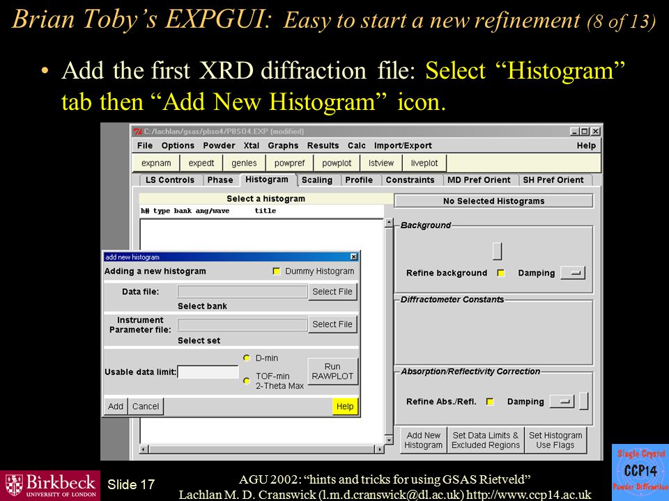 Brian Toby's EXPGUI: Easy to start a new refinement (8 of 13)