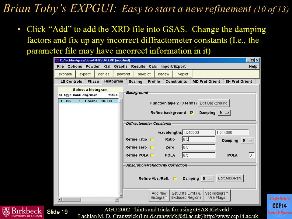 Brian Toby's EXPGUI: Easy to start a new refinement (10 of 13)