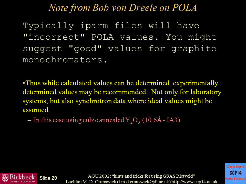 Note from Bob von Dreele on POLA