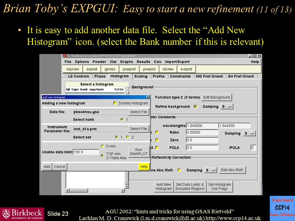 Brian Toby's EXPGUI: Easy to start a new refinement (11 of 13)
