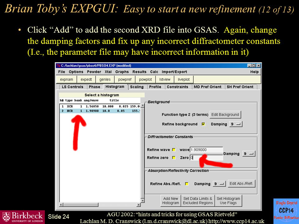 Brian Toby's EXPGUI: Easy to start a new refinement (12 of 13)
